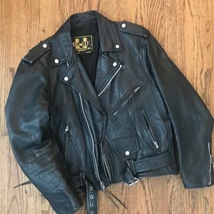 Vtg UNIK leather biker motorcycle jacket 40